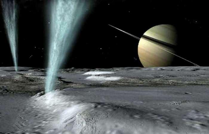 Горячие пятна на спутнике Сатурна Энцеладе.