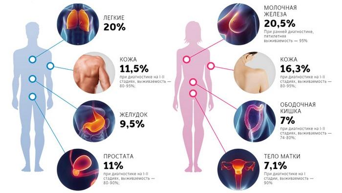 Обратить внимание: заболеваемость раком снижается.