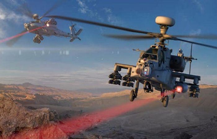 Apache AH-64 с лазерным вооружением.