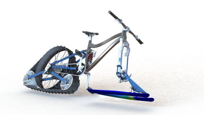 Как сделать из велосипеда снегоход своими руками