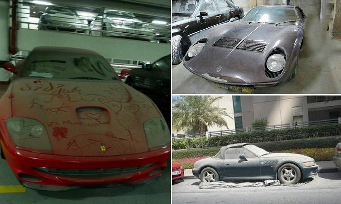 Брошенные автомобили в Дубае.