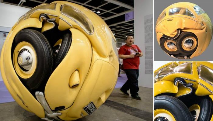 Автомобиль, превращённый в шар.