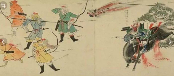 Монголы на японской гравюре используют китайские пороховые бомбы. ¦Фото: motolodka.ru.
