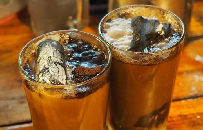 Кофе с горящим углем.