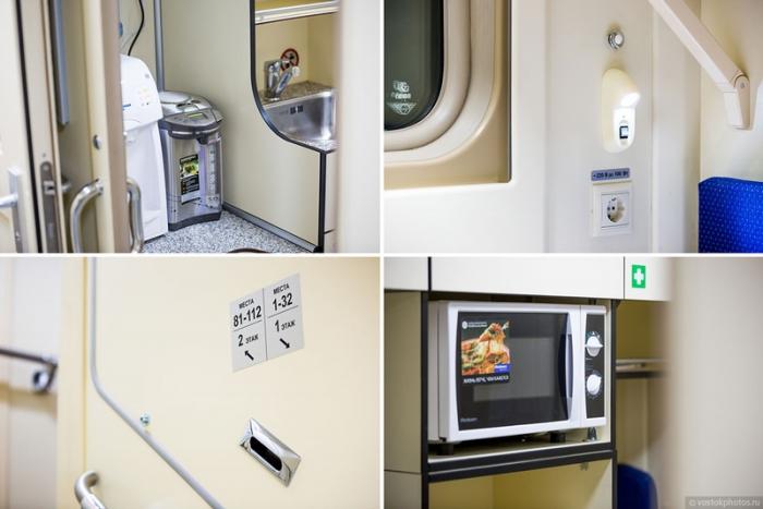 Микроволновка и прочие удобства для пассажиров.