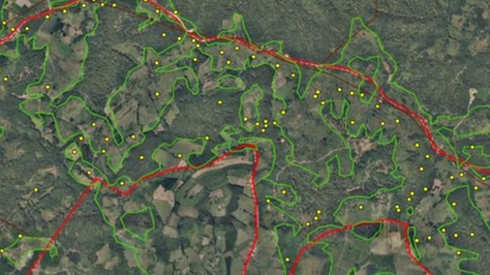 Карта минного поля, как её видит дрон.