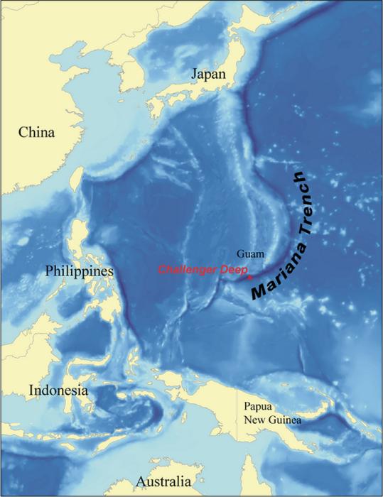 Бездна Челленджера, Марианская впадина (Тихий океан).