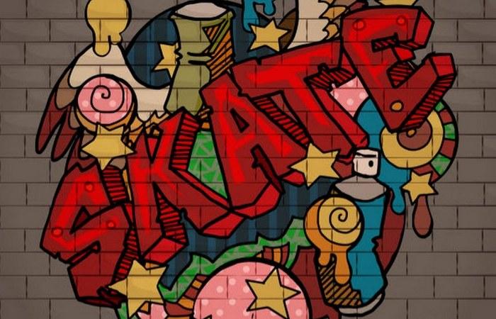 Граффити на стенах.