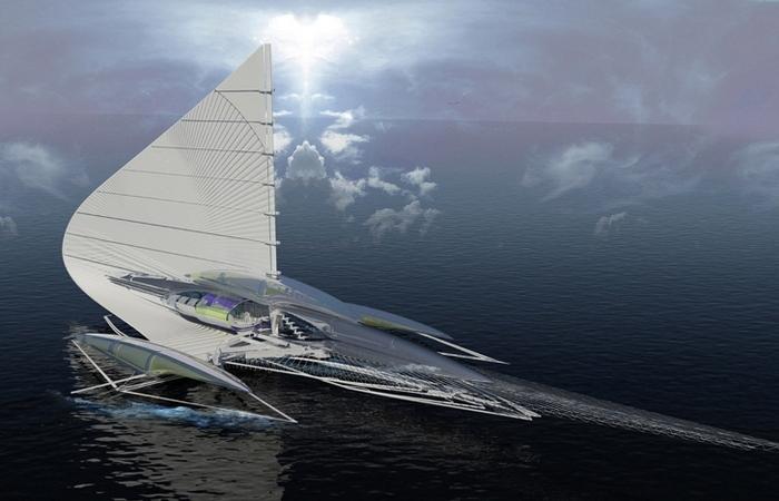 Тримаран на солнечных батареях.