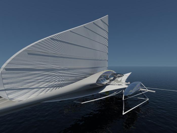 Тримаран с жёстким парусом и подводными крыльями.