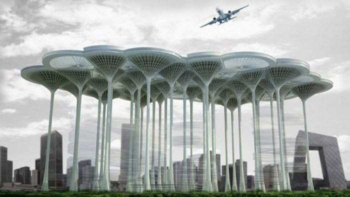 Футуристичное предсказание: аэродромы на небоскребах.