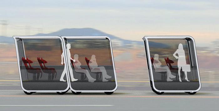 Сгруппированные в автобусы модули.