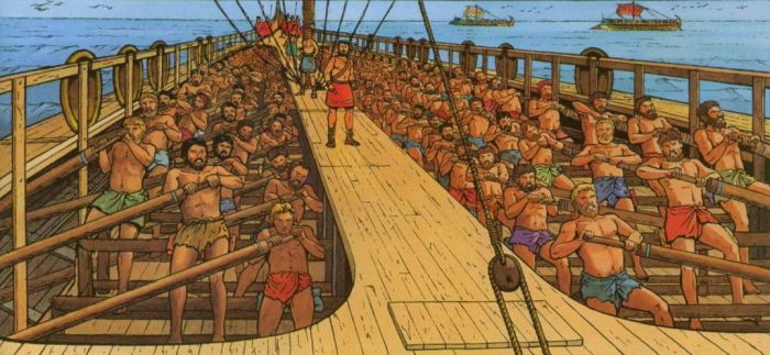 На каждом весле античного суда был один гребец, что позволяло достигать большей скорости и маневренности. |Фото: pinterest.cl.
