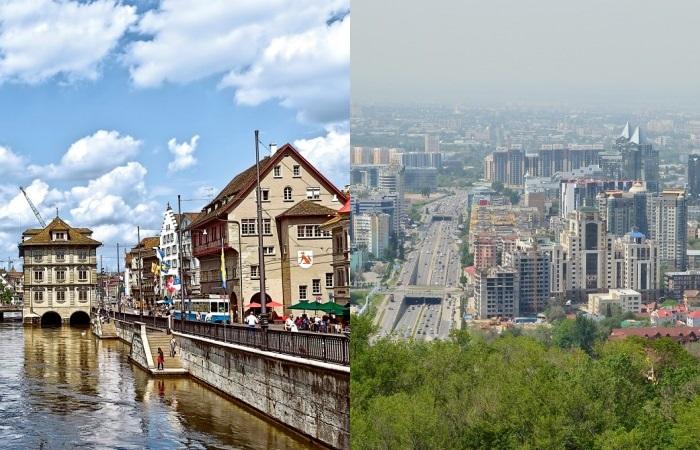 Абсолютно разные Цюрих и Алматы.