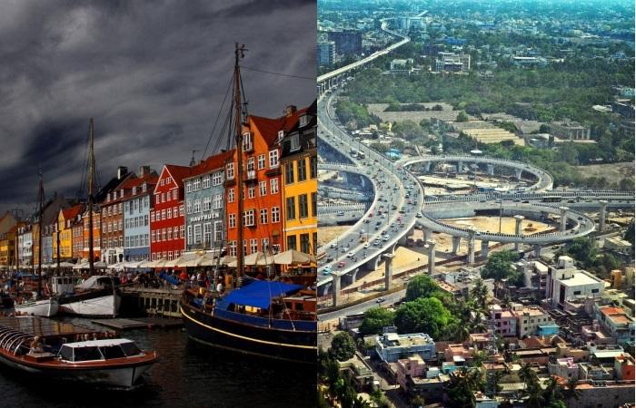 Два разных мира Копенгаген и Ченнай.