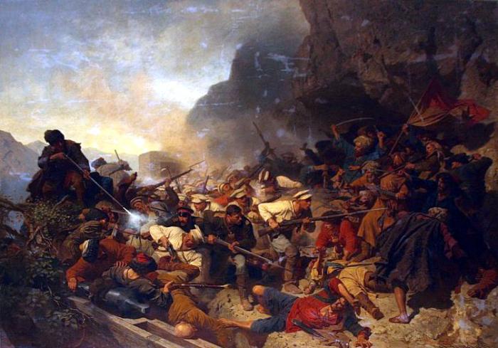 Появились газыри во время кавказских войн. |Картина: Штурм укреплений Гуниба. Теодор Горшельт.