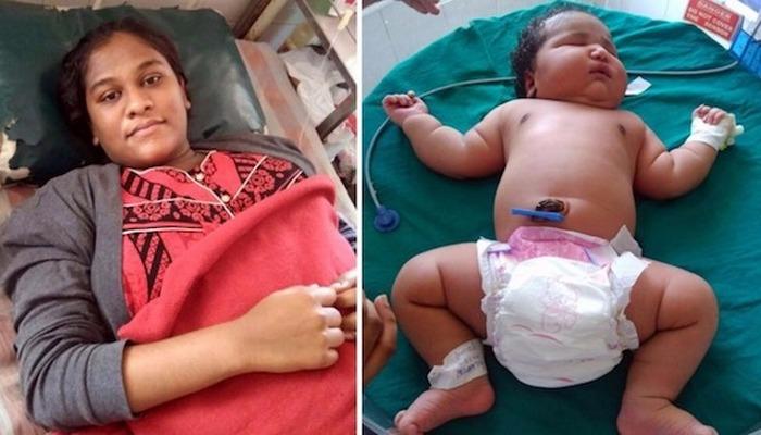 Молодая мама из Индии, которая родила самого тяжелого ребенка в мире.