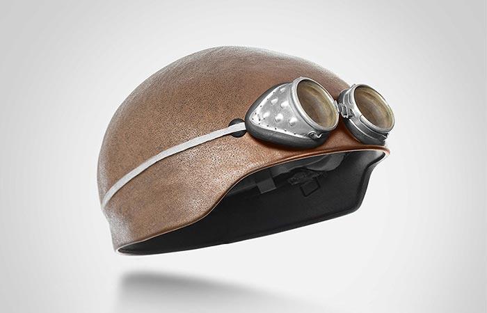 Шлем с очками в стиле ретро.