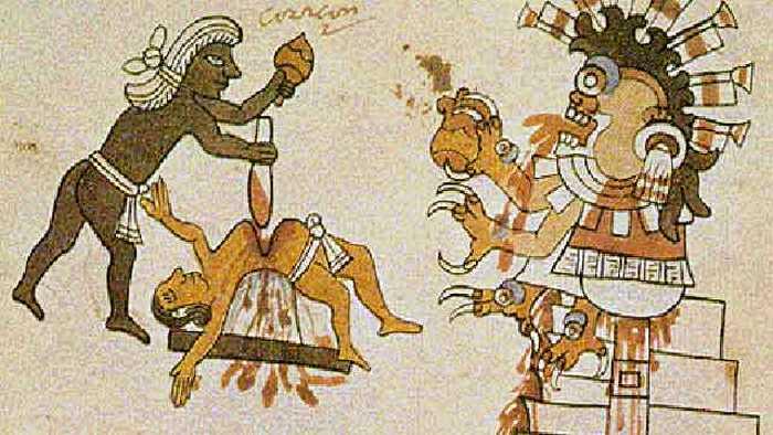 Ацтекские жертвоприношения.
