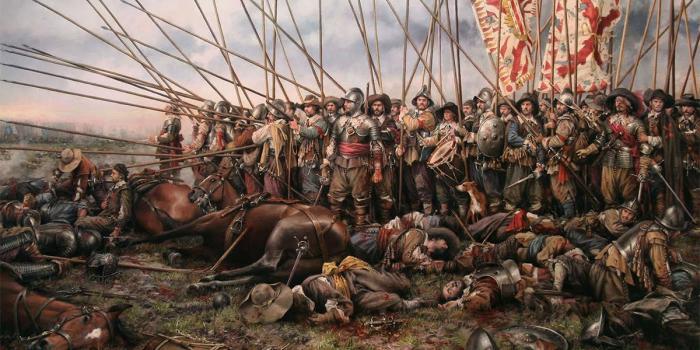 Последняя испанская терция пикинеров (баталия) в битве при Рокруа. /Художник: Аугусто Феррер-Дальмау.