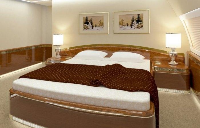 Спальня в президентском авиалайнере.