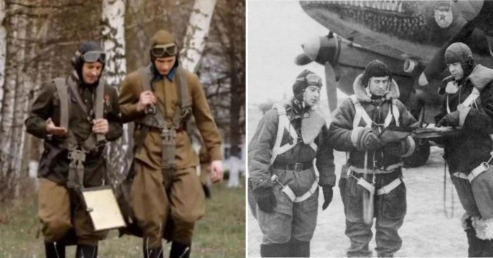 Слева - кадр из документального фильма, справа - фотография советских летчиков. ¦Фото: novate.ru.