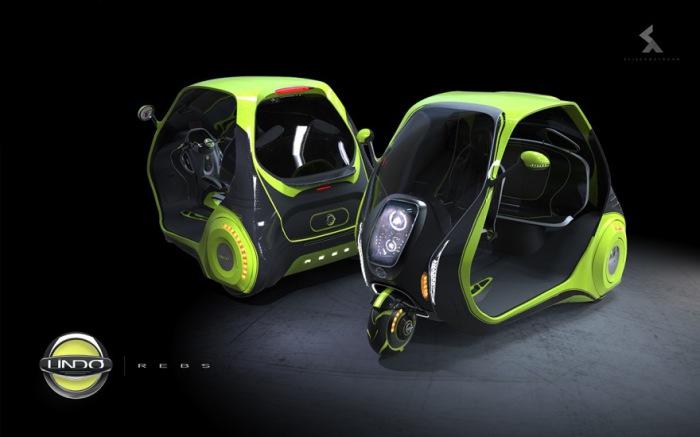 Титановый электромобиль-тривиллер с бортовым компьютером.