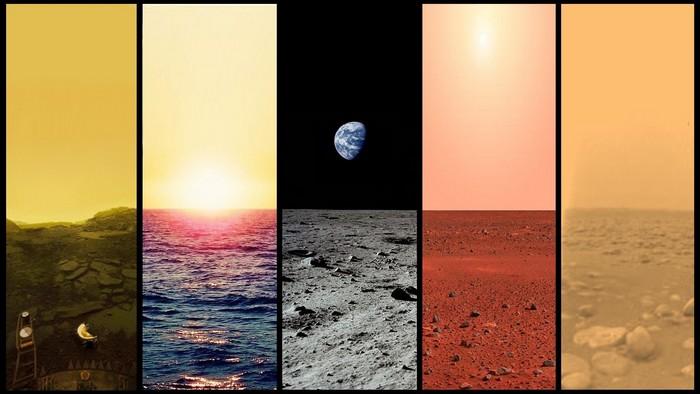 Рассветы на Венере, Земле, Луне, Марсе и Титане.