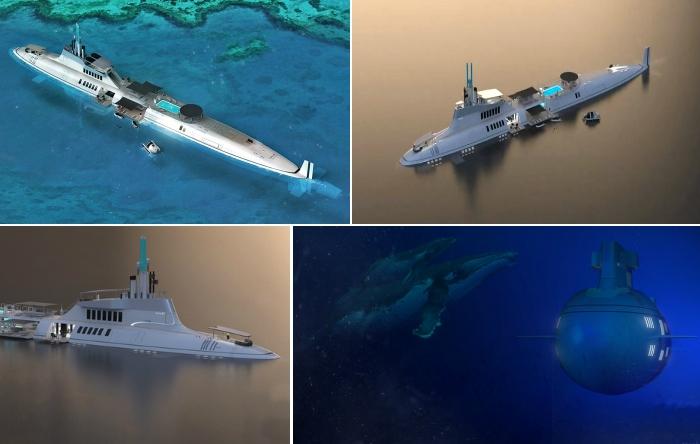 Роскошная подводная яхта в стиле капитана Немо.