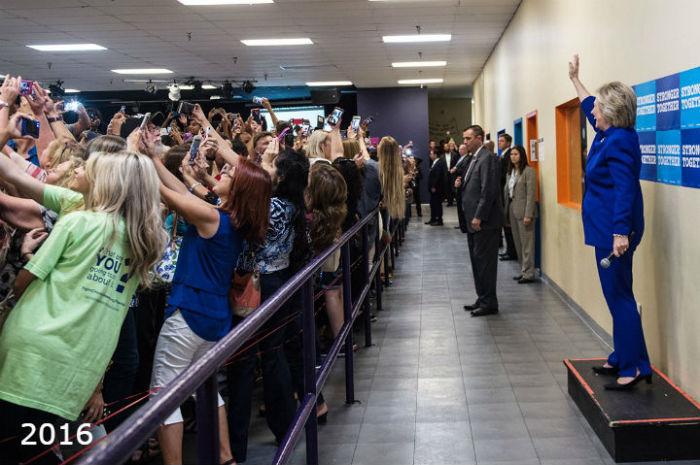 Хиллари с ибирателями