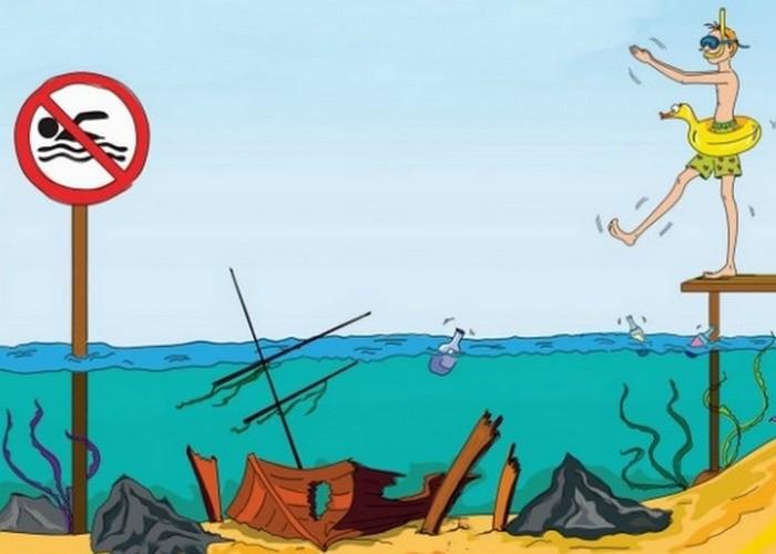 Смертельная опасность: купание в незнакомом месте.