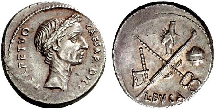 Монета Юлия Цезаря.
