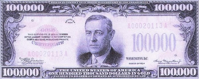 Золотой сертификат номиналом $ 100.000.