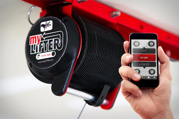 Гаражная лебёдка с управлением со смартфона.