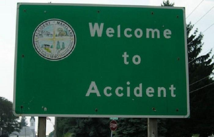Городок Несчастный случай в штате Западный Мэриленд, США.