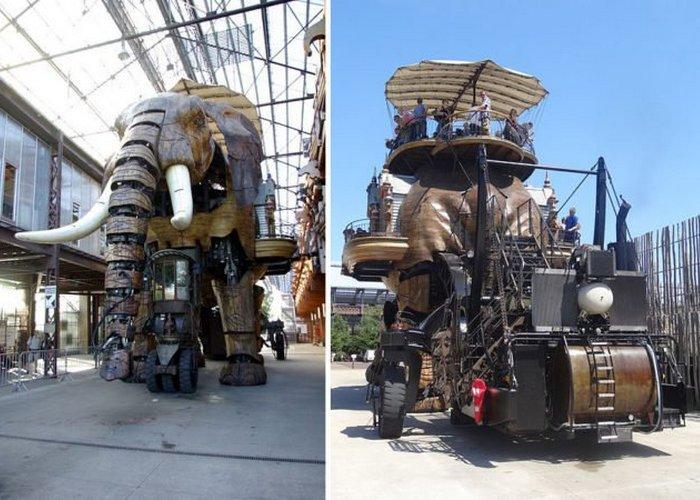 Самым известным из всех механических творений является «Великий слон» высотой 12 метров.