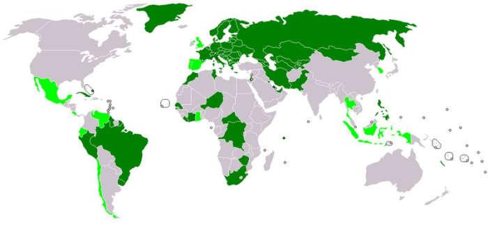 Зеленым - страны подписавшие конвенцию. |Фото: commons.wikimedia.org.