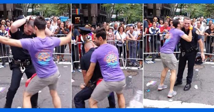 Полицейский, который танцевал с участниками гей-парада в Нью-Йорке.