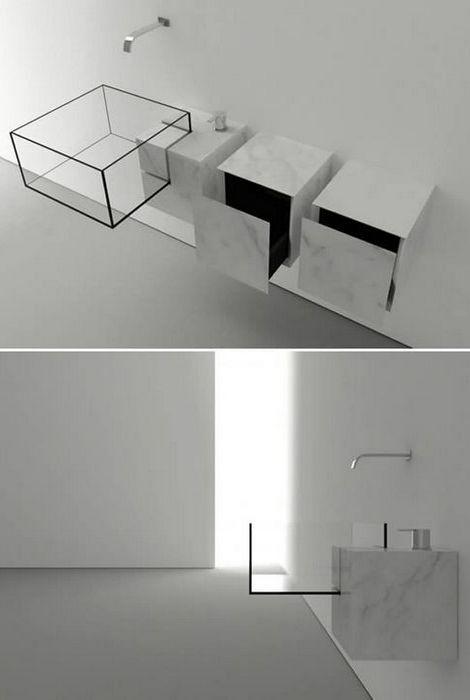 «Минималистский куб» в ванной комнате.