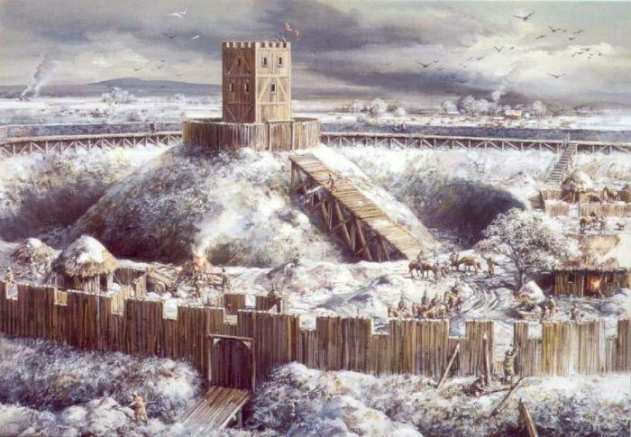 Первые Средневековые крепости были из дерева и земли. |Фото: pinterest.ru.