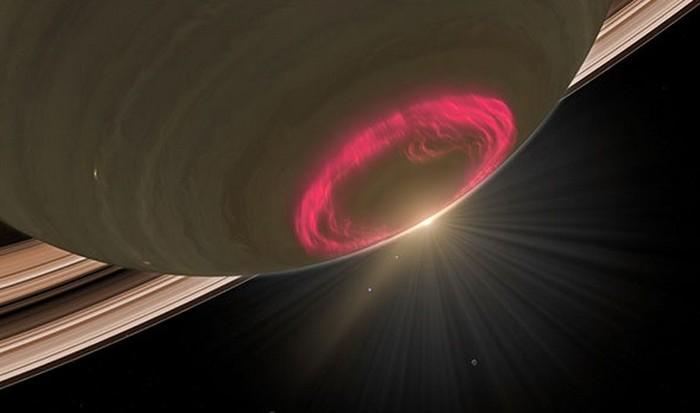Потрясающая фотография: северное сияние на Сатурне.