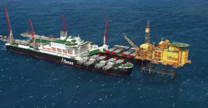 Судно для нефтяных платформ и прокладки трубопроводов.