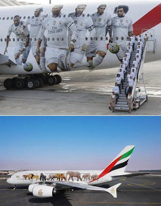 Разукрашенный самолет «Реал Мадрид A380».