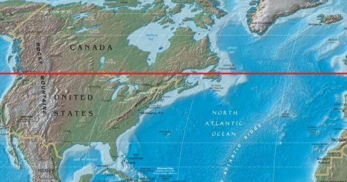 По 49 параллели граница проходит и сегодня. ya.ru.