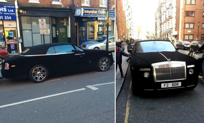 Rolls-Royce, задрапированный бархатом.