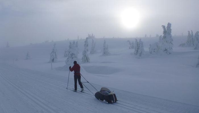 Scandinavian Sidecar в походном режиме зимой.
