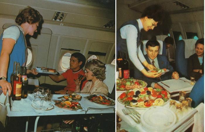 Обед на борту советского лайнера.