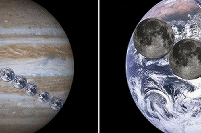 Луна, Земля, Юпитер.