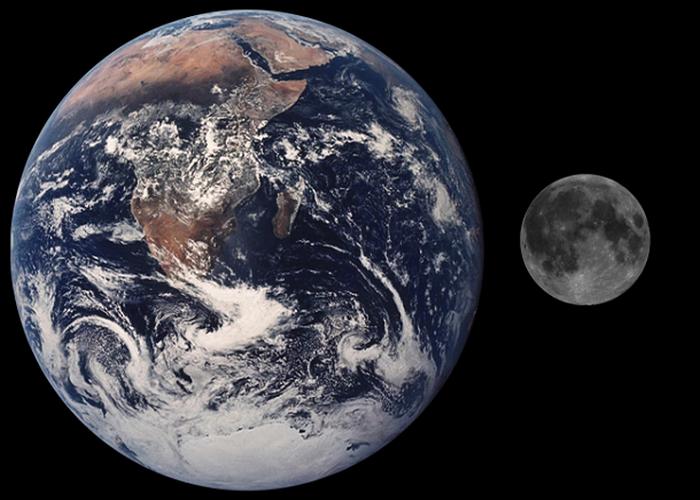 Объем Луны по сравнению с Землей.