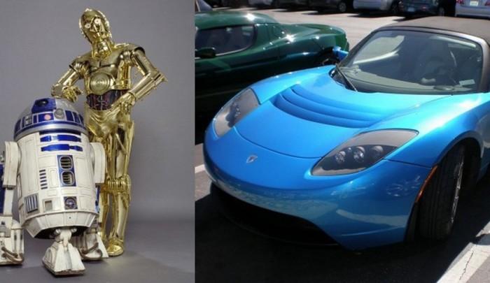 Tesla Roadster для C-3PO и R2-D2.